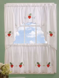Crisp white ground accented with colorful embroidered strawberries, flowers, swirls and cutouts with a scalloped edge. 100% polyester & machine washable.  #Complete #Curtain #Sets