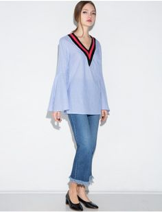 $76 Pixie Market Stripe Varsity Bell Sleeve Top