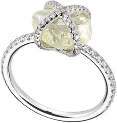 Embrace ring featuring a 4.30ct rough diamond accented with 0.42cts of micro pavé diamonds in pla...