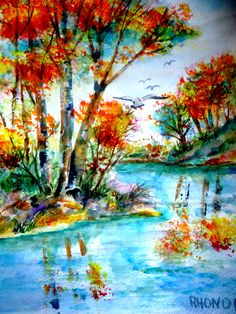 colorful 11x15 original  watercolor by AffordableARTbyRonda