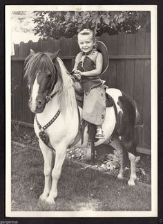 Sweet Blond Girl in Cowboy Hat Costume on Rental Pony 1950s 5x7 Vintage Photo | eBay
