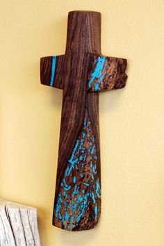 Walnut Wall Cross with Turquoise Inlay 8  high by BlackFacedSheep, $34.99