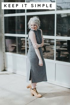 Monochromatic grey dress, grey glasses and grey hair. Click through for details on this look.