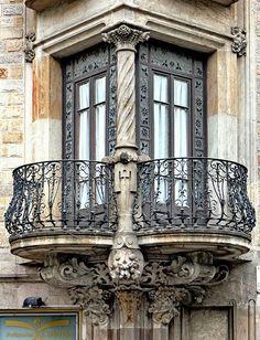 - Gran Via 542 g Ornate wrought-iron balconies, Casa Francesc Farreras, Sant Antoni, Barcelona, Spain. Photo by Arnim Schulz. Balcony Window, Iron Balcony, Balcony Railing, Bay Window, Balcony Garden, Beautiful Architecture, Beautiful Buildings, Art And Architecture, Architecture Details