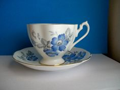 Blue Floral Queen Anne Bone China Teacup and Saucer