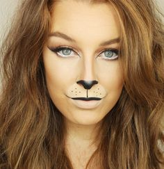 To be a lioness for Halloween you'll need black eyeliner, white eyeliner, and false lashes.