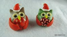polymer clay Christmas owls
