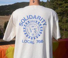 80s vintage pocket t-shirt united AEROSPACE workers by skippyhaha