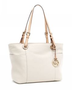 MICHAEL Michael Kors Jet Set Zip-top Tote Vanilla Smooth Leather with Buff Leather Handles
