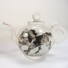 collectable China superb inside handpainted horse glass teapot decoration L3A63 | the Teapots Collectionary