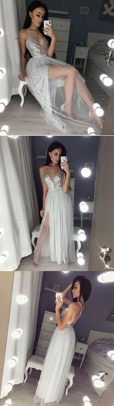 Gray v neck tulle long prom dress, gray evening dress