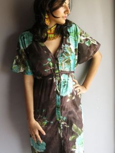 Cozy Front Buttoned Short Kaftan Style made From B1 Fabric Pattern