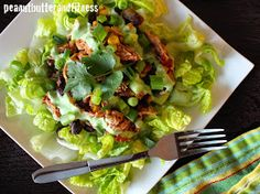 PEANUT BUTTER AND FITNESS: Slow Cooker Chicken Taco Salad with Tangy Cilantro Lime Dressing