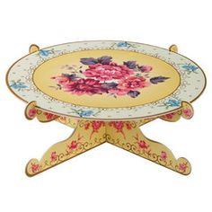 Tea Party cake stand with a yellow and pink floral design.  Perfect for a princess party, a tea party, garden party, fairy party and much more!!