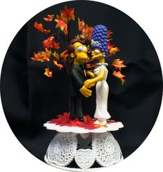 Wedding Cake Topper younger  Homer & Marge The Simpsons Simpson Fall theme tree