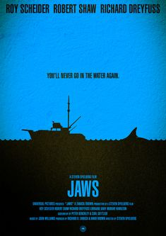 """Movie Poster - """"Jaws"""" by Hydrology @ Jaws Quartet Pet Sematary, Horror Movie Posters, Cinema Posters, Horror Movies, Jurassic Park, Jaws Movie Poster, Film Poster Design, Minimalist Artwork, Perfect Movie"""