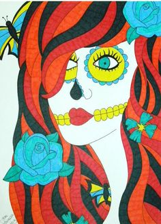 Sugar Skull Girl Orange, Red, and Yellow with Blue Flowers Sharpie and Marker 9x12 Drawing, Original Day of the Dead Art, Dia De Los Muertos