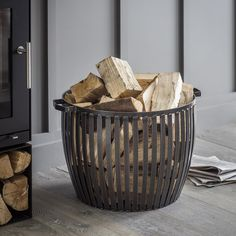 Contemporary Metal Matte Black Log Kindling Store Basket with Poker and Tongs