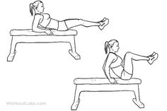 Seated Bench Leg Pull-In / Flat Bench Knee-up