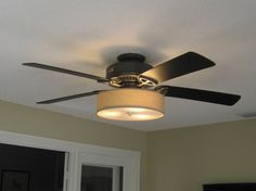 Ceiling Lighting, Low Profile Linen Drum Light Kit For Ceiling Fan Light  Shades Ideas Inspirations