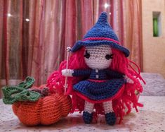 Halloween Witch with red hair. Witch Doll. Crochet Witch Doll.
