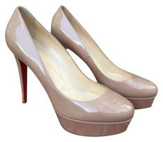 Christian Louboutin Patent Red Sole Pump Nude Beige Pumps