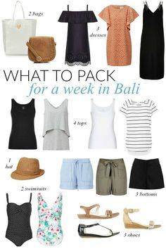 What to pack for a week in bali - sonia styling beach holiday packing, beach Travel Packing Outfits, Packing Clothes, Travel Outfit Summer, Vacation Outfits, Summer Outfits, Packing Lists, Summer Travel Packing, Hawaii Outfits, Travel Capsule