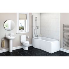 Energy Bathroom Suite with Evesham 1675 x 850 Shower Bath RH Compact Bathroom, Bathroom Sets, Modern Bathroom, Bathroom Basin, Small Bathrooms, L Shaped Bathroom, Shower Suites, Straight Baths, Bath Panel