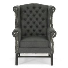 This is VERY Dick Van Dyke Show. I WANT THEM (really just one).     Sussex Grey Linen Club Chairs (Set of 2) | Overstock.com