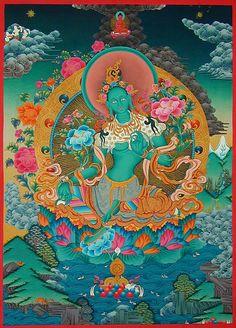thangka painting - green tara