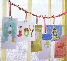 Christmas Card Display ~ Buy a string of Pom Poms at Michael's or JoAnn's to display your Holiday cards. Hanging Christmas Cards, Christmas Card Display, Christmas Card Holders, Christmas Window Decorations, Handmade Christmas Decorations, Christmas Love, Christmas Greetings, Winter Christmas, Holiday Crafts
