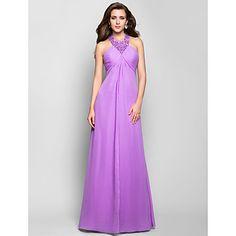 A-line Halter Floor-length Chiffon Evening Dress – USD $ 179.99