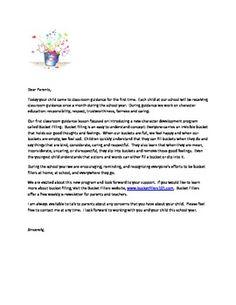 Bucket Fillers Parent Letter