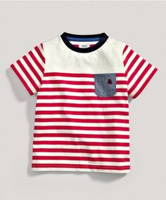 Boys Red Short Sleeved Striped T-Shirt