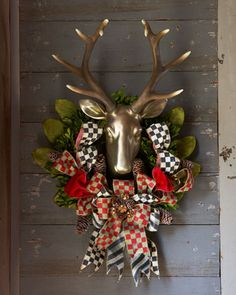 Orchard Check Stag Wreath by MacKenzie-Childs at Neiman Marcus.