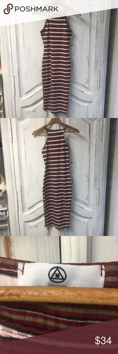Tight Stripped Dress tight dress high neck  sleeveless  size xs/s Light material great for a night out!  Check out the rest of my closet! Add to a bundle for a private offer! Fast shipping and I can give measurements upon requests! Thanks for stopping by! Dresses Midi