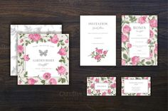 Set. Vintage garden pink rose. by olga.korneeva on Creative Market