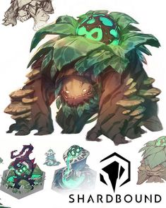 Concept Art from Shardbound || Sentient salads that eat you back! Let's face it - if you're building a fantasy world, at some point you're going to need to design an ent-thing.