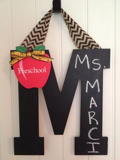 Chalkboard initial wall/door decor on Etsy, $14.00