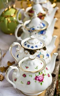 China teapots for a vintage themed wedding. // Jacaranda Tea Party Hire.: