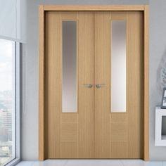 Sanrafael Lisa Glazed Double Door - Model K09V Reconstituted Oak Prefinished #designerglazeddoors #doubledoors #oakdoubledoors