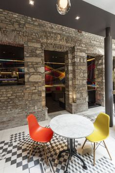 A friendly, centrally located boutique hotel where contemporary art and design meet in an century exterior. Travel Alone, Traditional Art, Budapest, Coffee Shop, Contemporary, Interior Design, Architecture, Solo Travel, Coffee Shops