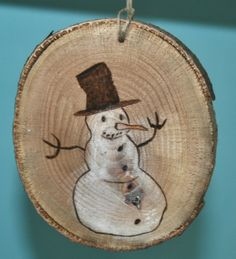 Snowman Christmas Tree Slice Ornament by hippiescreations on Etsy, $10.00