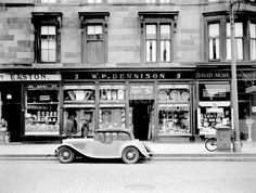 Shop fronts Kilmarnock Rd, Glasgow I was along here yesterday, it's vastly changed & not in a good way. Sad to see. Great photo though. Glasgow Scotland, Edinburgh, British Shop, Shopping In Italy, Glasgow City, Old Pub, 2nd City, Painting Trim, Shop Fronts