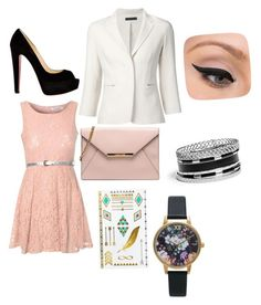 A party at my house!! by breezypeach on Polyvore featuring polyvore, beauty, LORAC, MANGO, GUESS, Olivia Burton, Glamorous, The Row and Christian Louboutin