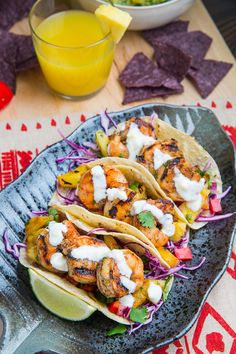 Jerk Shrimp Tacos with Pineapple Salsa, Slaw and Pina Colada Crema @ClosetCooking