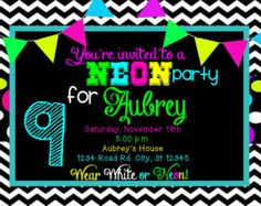 Neon Colors  Glow Party  Invitation | Etsy