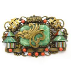 Vintage Czech Art Deco Neiger Brothers Oriental Peking Glass Enamel Brooch | Clarice Jewellery | Vintage Costume Jewellery