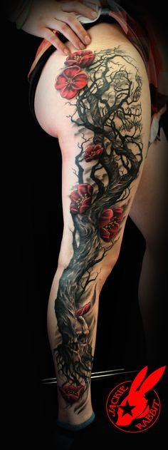Skull Tree Cherry Blossom Tattoo by Jackie Rabbit by on DeviantArt – skull tattoo sleeve Tree Sleeve Tattoo, Blossom Tree Tattoo, Sleeve Tattoos, Tattoo Tree, Tattoo Sleeves, Skull Tattoos, Leg Tattoos, Body Art Tattoos, Tatoos