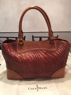 Cole Haan Genevieve Woven Leather Weave Saddle Tote Shoulder Hand Bag Purse EUC! #ColeHaan #TotesShoppers GORGEOUS!!! EXCELLENT CONDITION!!! BEAUTIFUL WOVEN LEATHER WEAVE LARGE BOX TOTE LEATHER BAG IN THE ALWAYS POPULAR SADDLE BROWN / COGNAC BROWN COLOR!!! SALE!!! WOW!!!